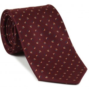 Dark Blue, Gray & Soft Yellow on Dark Red Macclesfield Print Silk Tie #277