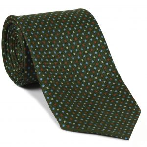 Sky Blue, Red & White on Olive Green Macclesfield Print Silk Tie #282