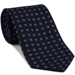 Sky Blue & Lavender on Midnight Blue Macclesfield Print Silk Ties #MCT-302