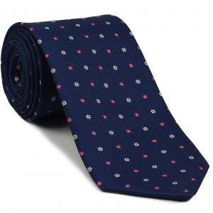 White & Soft Pink on Purple/Blue Macclesfield Print Silk Ties #MCT-306