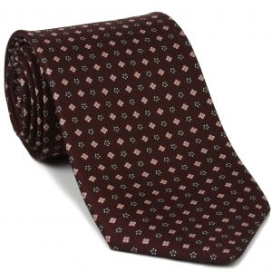 Blue, Off-White & Salmon on Burgundy Macclesfield Print Silk Ties #MCT-310