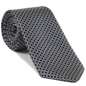 White on Midnight Blue Macclesfield Print Silk Tie #MCT-315