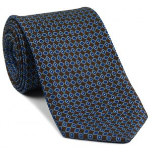 Sky Blue, Blue & White on Dark Chocolate Macclesfield Print Silk Tie #MCT-318