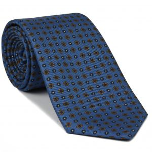 Navy Blue, Burnt Orange & White on Sky Blue Macclesfield Print Silk Tie #MCT-320