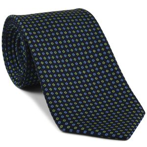Sky Blue & Lime Green on Midnight Blue Macclesfield Print Silk Ties #MCT-334
