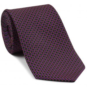 Royal Blue & Pink on Forest Green Macclesfield Print Silk Tie #MCT-338