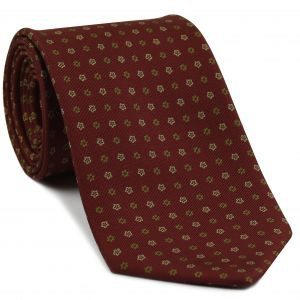 Olive Green & White on Burgundy Macclesfield Print Silk Tie #MCT-340