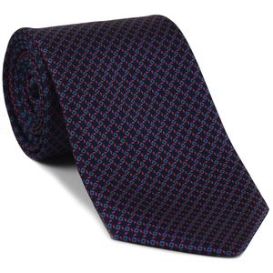 Sky Blue & Red on Midnight Blue Macclesfield Print Silk Tie #MCT-344