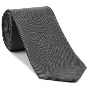 Silver Gray Oxford Weave Silk Tie #FFXT-18