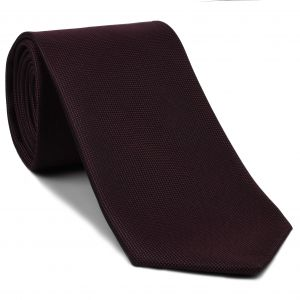 Burgundy Oxford Weave Silk Tie #6