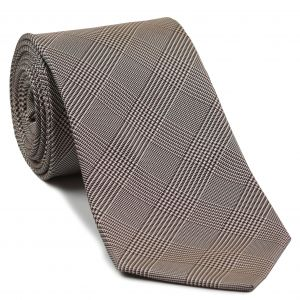 Burgundy, Black & White Prince Of Wales Silk Tie #23