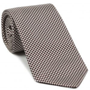 Burgundy & White Shepherd's Check Silk Tie #26