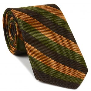 Chocolate, Olive Green & Burnt Orange Striped Silk Tie #SST-14
