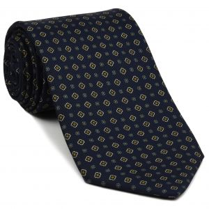 Sky Blue, Burnt Orange & White on Midnight Blue Macclesfield Print Silk Tie #MCT-327