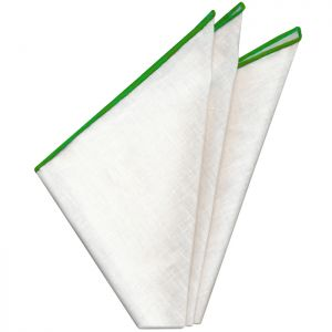 White with Lime Contrast Edges Belgian Linen Pocket Square