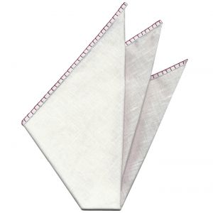 Belgian White Linen Pocket Squares with Burgundy Hand Sewn Decorative Flat Edges