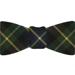 Farquharson Tartan Silk Bow Tie #TABT-10  Navy Blue, Black, Light Yellow & Bottle Green