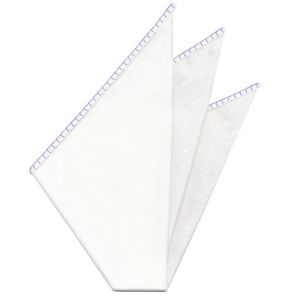 Belgian White Linen Pocket Squares with Lavender Hand Sewn Decorative Flat Edges