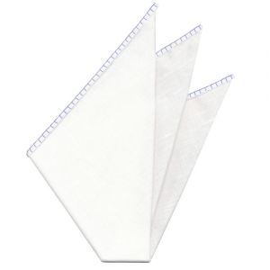Belgian White Linen Pocket Squares with Medium Iris Hand Sewn Decorative Flat Edges