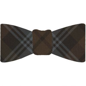 Tartan Silk Bow Tie #TABT-15  Silver Gray, Black & Chocolate