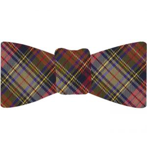 Red, Midnight Blue, Blue, Light Yellow, Olive Green & White Tartan Silk Bow Tie #TABT-16