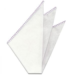 Belgian White Linen Pocket Squares with Dark Royal Purple Hand Sewn Decorative Flat Edges