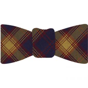 Navy Blue, Dark Red & Yellow Gold Tartan Silk Bow Tie #TABT-18
