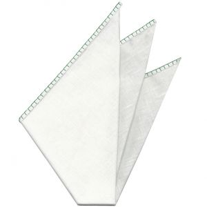Belgian White Linen Pocket Squares with Lime Green Hand Sewn Decorative Flat Edges
