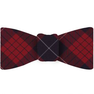 Macqueen Tartan Silk Bow Tie #TABT-2  Navy Blue, White & Red
