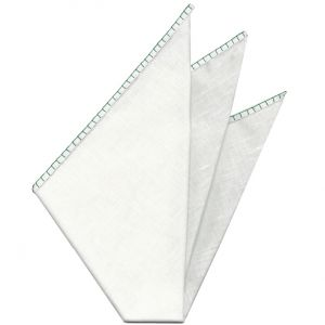 Belgian White Linen Pocket Squares with Bottle Green Hand Sewn Decorative Flat Edges