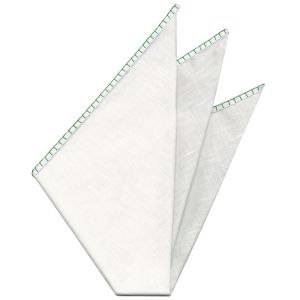 Belgian White Linen Pocket Squares with Green Hand Sewn Decorative Flat Edges