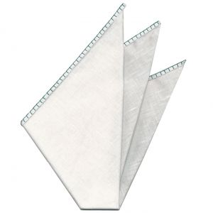 Belgian White Linen Pocket Squares with Dark Turquoise Hand Sewn Decorative Flat Edges