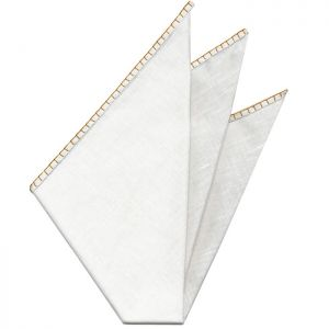 Belgian White Linen Pocket Squares with Orange Hand Sewn Decorative Flat Edges