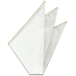 Belgian White Linen Pocket Squares with Mandarin Hand Sewn Decorative Flat Edges