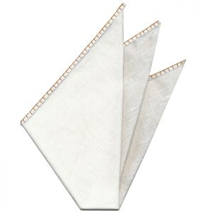Belgian White Linen Pocket Squares with Burnt Orange Hand Sewn Decorative Flat Edges
