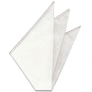 Belgian White Linen Pocket Squares with Chocolate Hand Sewn Decorative Flat Edges