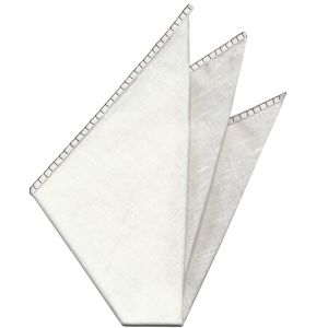 Belgian White Linen Pocket Squares with Dark Chocolate Hand Sewn Decorative Flat Edges