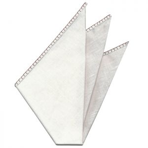 Belgian White Linen Pocket Squares with Reddish Brown Hand Sewn Decorative Flat Edges