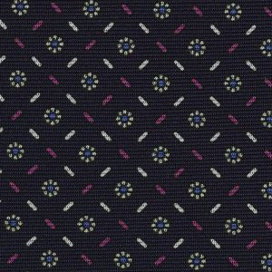 Sky Blue, Off-White, Corn Yellow, Fuchsia on Midnight Blue Macclesfield Print Silk Tie #MCT-354