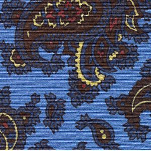 Orange, Soft Gold, Dark Chocolate & Red on Sky Blue Macclesfield Print Silk Tie #MCT-359