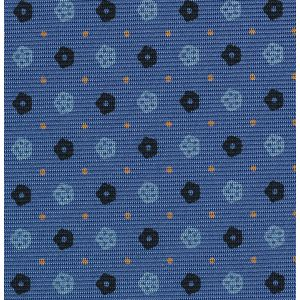 Midnight Blue,  Powder Blue & Yellow Gold on Sky Blue Macclesfield Print Silk Tie #MCT-364
