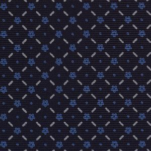 Sky Blue & White on Midnight Blue Macclesfield Print Silk Tie #MCT-365