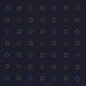 Sky Blue & Off-White on Midnight Blue Macclesfield Print Silk Tie #MCT-391