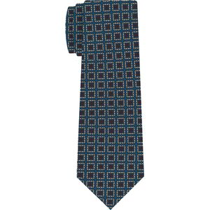 Off-White & Red on Ocean Blue Macclesfield Print Silk Tie #MCT-394