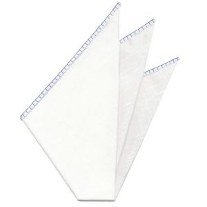 Belgian White Linen Pocket Squares with  Sky Blue Hand Sewn Decorative Flat Edges