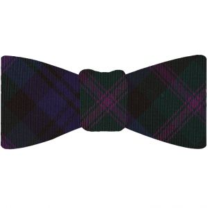 Scozzese Tartan Silk Bow Tie #TABT-3  Dark Forest Green, Purple, Black & Navy Blue