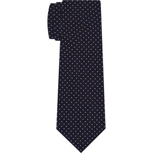 Off-White on Midnight Blue Macclesfield Print Silk Tie #MCPDT-26