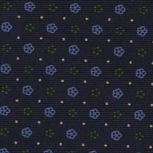 Sky Blue, Off-White & Green on Midnight Blue Macclesfield Print Silk Tie #MCT-406