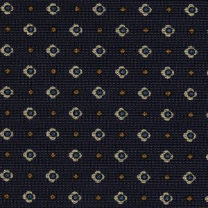 Sky Blue, Off-White & Yellow Gold on Midnight Blue Macclesfield Print Silk Tie #MCT-408