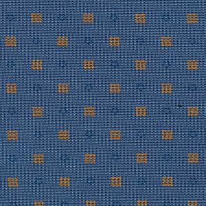 Blue & Gold on Slate Blue Macclesfield Print Silk Tie #MCT-410